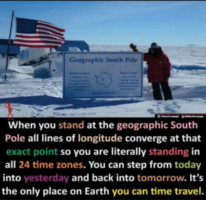 Pole: Geographic South Pole  Rabert F. Soalt  Resd Amundaen  Fevai  The Falo Yos. e  seama Inom  ther ptd  olevation 9 Ml fet  When you stand at the geographic South  Pole all lines of longitude converge at that  exact point so you are literally standing in  all 24 time zones. You can step from today  into yesterday and back into tomorrow. It's  the only place on Earth you can time travel.