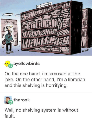 i'll just shelf this joke for later: GEOLOGY  IETERRET  SLANE  ayellowbirds  On the one hand, i'm amused at the  joke. On the other hand, I'm a librarian  and this shelving is horrifying.  tharook  Well, no shelving system is without  fault. i'll just shelf this joke for later