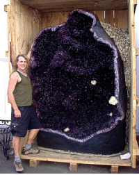 Target, Tumblr, and Amethyst: geologyin-blog:  Gigantic Amethyst geode  Photo: Two Skies Scotland   Thats not a geode thats Space inside a rock!