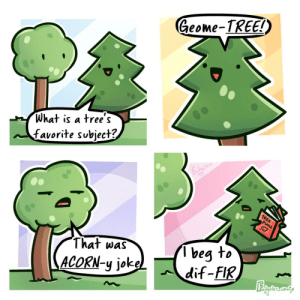 Donate to TeamTrees [OC]: Geome-TREE!)  What is a tree's  favorite subject?  Fadyele  TREE  PUNS  beg to  dif-FIR  That was  ACORN-y jokel Donate to TeamTrees [OC]
