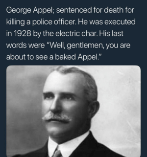 """meirl by bushdiid911 MORE MEMES: George Appel; sentenced for death for  killing a police officer. He was executed  in 1928 by the electric char. His last  words were """"Well, gentlemen, you are  about to see a baked Appel."""" meirl by bushdiid911 MORE MEMES"""