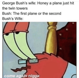 Bush beating around the bush: George Bush's wife: Honey a plane just hit  the twin towers  Bush: The first plane or the second  Bush's Wife:  uay leter  come again nigga Bush beating around the bush