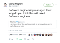 Time, Yoko Ono, and Engineering: George Claghorn  Follow  @georgeclaghorn  Software engineering manager: How  long do you think this will take?  Software engineer:  Yoko Ono@yokoono  I don't rely on time. Time is what manmade for our convenience, and in  reality, it does not exist.  4:38 PM-6 Dec 2018  1,050 Retweets 2,764 Likes 3.е Time is what manmade for our convenience