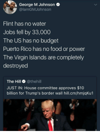 Blackpeopletwitter, Food, and Virgin: George M Johnson  @lamGMJohnson  Flint has no water  Jobs fell by 33,000  The US has no budget  Puerto Rico has no food or power  The Virgin Islands are completely  destroyed  The Hill @thehill  JUST IN: House committee approves $10  billion for Trump's border wall hill.cm/hmjqKu1 <p>let&rsquo;s get real here who needs water or jobs when you can have a wall (via /r/BlackPeopleTwitter)</p>