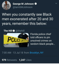Blackpeopletwitter, Police, and Brooklyn: George M Johnson  @lamGMJohnson  When you constantly see Black  men exonerated after 20 and 30  years, remember this below  The Hill @thehill  Florida police chief  told officers to pin  unsolved crimes on  randomn black people...  POLICELER  INE DO NOT  7:00 AM 13 Jul 18 from Brooklyn, NY  979 Retweets 1,247 Likes <p>Just sprinkle some crack on him (via /r/BlackPeopleTwitter)</p>