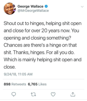 Shit, George Wallace, and Heros: George Wallace  @MrGeorgeWallace  Shout out to hinges, helping shit open  and close for over 20 years now. You  opening and closing something?  Chances are there's a hinge on that  shit. Thanks, hinges. For all you do.  Which is mainly helping shit open and  close.  9/24/18, 11:05 AM  898 Retweets 6,765 Likes  10 The unsung heros