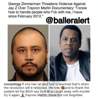 """Ass, Bitch, and Jay: George Zimmerman Threatens Violence Against  Jay Z Over Trayvon Martin Documentary: """" know  how to handle people who fck with me, I have  since February 2012.""""  snoopdogg If one hair on jays hair is touched that's when  the revolution will b televised We one and to thank the  system let the Bitch ass muthafucca get away with murder  try it again ㅅTrayvon Martin Gone but not forgotten From the desk of snoopdogg"""