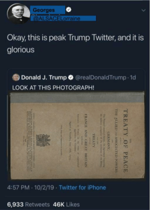 Iphone, Twitter, and France: Georges  @ALSACELorraine  Okay, this is peak Trump Twitter, and it i  glorious  Donald J. Trump@realDonaldTrump 1d  LOOK AT THIS PHOTOGRAPH!  4:57 PM 10/2/19 Twitter for iPhone  6,933 Retweets 46K Likes  TREATY  OF  PEACE  THE ALLIED  ASSOCIATED POWERS  GERMANY  The P Set the Ag song  e ilaiy de ex  TREATY  FRANCE  AND  GREAT BRITAIN  A  F  bder  Ve e i Some of you need to know who actually won World War 1