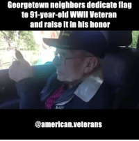 """73 years ago, Merlin Hoppe joined the U.S. Army. The native Texan was part of Gen. George Pattan's Third Army, fighting valiantly during a surprise attack by Adolf Hitler's troops on the Rhine River. """"As they went down, his boat was hit twice by machine guns and 50 caliber guns that were mounted on tanks. Around 5 a.m. Sgt. Hoppe was hit in the shoulder and the friend that was sitting beside him was killed,"""" said Lynn Raya who helped put together the ceremony for Hoppe. Hoppe was struck twice more in his other shoulder and his leg. His fellow soldiers had no choice but to hide him in an abandoned farm house until medics could reach him. """"They had to leave him there unattended for almost three days,"""" Raya said. americanveterans veterans usveterans usmilitary usarmy supportveterans honorvets usvets america usa patriot uspatriot americanpatriot supportourtroops godblessourtroops ustroops americantroops semperfi military remembereveryonedeployed deplorables deployed starsandstripes americanflag usflag respecttheflag marines navy airforce: Georgetown neighbors dedicate flag  to 91-year-old WWII Veteran  and raise itin his honor  @american veterans 73 years ago, Merlin Hoppe joined the U.S. Army. The native Texan was part of Gen. George Pattan's Third Army, fighting valiantly during a surprise attack by Adolf Hitler's troops on the Rhine River. """"As they went down, his boat was hit twice by machine guns and 50 caliber guns that were mounted on tanks. Around 5 a.m. Sgt. Hoppe was hit in the shoulder and the friend that was sitting beside him was killed,"""" said Lynn Raya who helped put together the ceremony for Hoppe. Hoppe was struck twice more in his other shoulder and his leg. His fellow soldiers had no choice but to hide him in an abandoned farm house until medics could reach him. """"They had to leave him there unattended for almost three days,"""" Raya said. americanveterans veterans usveterans usmilitary usarmy supportveterans honorvets usvets america usa patriot uspatriot a"""