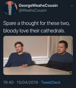 Love, Memes, and Thought: GeorgeWeahsCousin  @WeahsCousin  Spare a thought for these two,  bloody love their cathedrals.  RT  19:40 15/04/2019 TweetDeck
