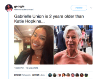 Blackpeopletwitter, Gabrielle Union, and Georgia: georgia  @lemonadenormani  Follow  Gabrielle Union is 2 years older than  Katie Hopkins..  10:09 PM 19 May 2018  22,243 Retweets 42,732 Likes <p>Hate = Age + 20 (via /r/BlackPeopleTwitter)</p>