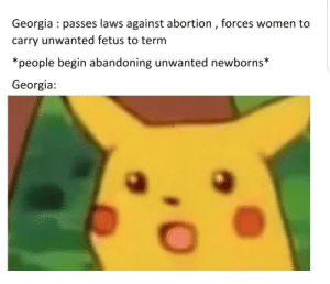Georgia logic: Georgia passes laws against abortion , forces women to  carry unwanted fetus to term  *people begin abandoning unwanted newborns*  Georgia Georgia logic