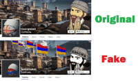 Community, Dank, and Fake: Georgiaball  Community  Timeline  Armenia ba  Community  Timeline  About Photos Likes More  ARMENIA  Like  Message  Original  Fake Georgian poster goes viral in Armenia and Armenians believe it was created for them!  Armeniaball