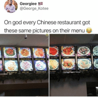 God, Chinese, and Pictures: Georgiee  @George_Kotee  On god every Chinese restaurant got  these same pictures on their menu NO LIE THO 😂🍋! Follow @funnyblacks (me) for more 🍋