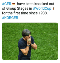 Memes, Time, and Been:  #GER-have been knocked out  of Group Stages in #WorldCup  for the first time since 1938