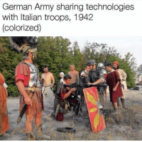 rare futage ^^: German Army sharing technologies  with Italian troops, 1942  (colorized) rare futage ^^