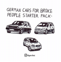 Cars, Meme, and Memes: GERMAN CARS FOR BROKE  PEOPLE STARTER PACK:  @geo.baz Steering wheel watch pack is an add-on 😂 Credit to @geo.baz . . car art sketch meme memes illustration comics carthrottle carmemes carsofinstagram carswithoutlimits instacars carspotting racecar blacklist blacklist cargram