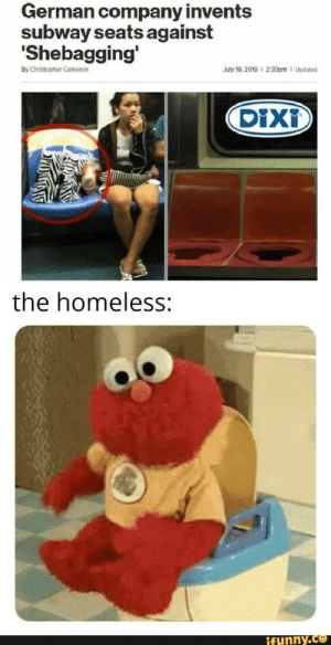………: German company invents  subway seats against  Shebagging'  By Christopher Cameron  July 19, 2019 I 2:30pm I Updated  DiXi  the homeless:  ifunny.co ………