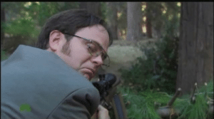 German, Sniper, and Officer: German sniper moments before taking the shot on an unaware allied officer (1944 colorized)