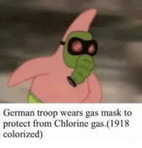 <p>It was a dark time&hellip;</p>: German troop wears gas mask to  protect from Chlorine gas.(1918  colorized) <p>It was a dark time&hellip;</p>