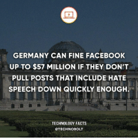 Apple, Dell, and Facebook: GERMANY CAN FINE FACEBOOK  UP TO $57 MILLION IF THEY DON'T  PULL POSTS THAT INCLUDE HATE  SPEECH DOWN QUICKLY ENOUGH  TECHNOLOGY FACTS  @TECHNOBOLT What do you guys think about this? - fact technobolt technology tech apple iphone ipod ipad samsung s7 hp dell acer lenovo asus cool innovation inspirational microsoft windows mac osx awesome wow damn nice amazing oneplus smartphone phone