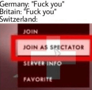 """Dank, Fuck You, and Love: Germany: """"Fuck you""""  Britain: """"Fuck vou""""  Switzerland:  JOIN  JOIN AS SPECTATOR  SERVER INFO  FAVORITE I love my country by airbuspilot2436 MORE MEMES"""