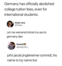 schmidt: Germany has officially abolished  college tuition fees, even for  international students.  folake aina  @fOlake  Let me wienerschnitzel my ass to  germany den  kwasi  @eddyldn  john jacob jingleheimer schmidt, his  name is my name too