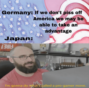 : Germany: If we don't piss off  America we may be  able to take an  advantage  Japan:  THINK  FIRE!  I'm gonna do what's called a pro-gamer move.