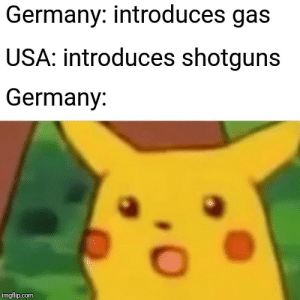 Germany, History, and Never: Germany: introduces gas  USA: introduces shotguns  Germany:  imgflip.com War never changes
