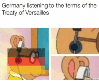 treaty of versailles: Germany listening to the terms of the  Treaty of Versailles  mematic net