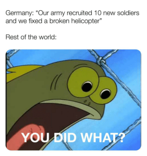 "Give them a break: Germany: ""Our army recruited 10 new soldiers  and we fixed a broken helicopter""  Rest of the world:  YOUDID WHATA Give them a break"