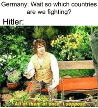 Germany, Hitler, and Once: Germany: Wait so which countries  are we fighting?  Hitler  Allof them at once  suppose Hitler invades Czechoslovakia (1939)