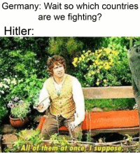 Germany, Hitler, and Once: Germany: Wait so which countries  are we fighting?  Hitler.  Allof them at once  suppose Oh no https://t.co/WWHmPXjlD7