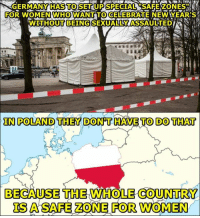 Newyears: GERMANYHASTOSET UPSPECTAL SAFEZONESA  FOR WOMENWHOWANT TOCELEBRATE NEWYEAR'S  te  IN POLAND THEY DON'T HAVE TO DO THAT  BECAUSE THE WHOLE COUNTRY  0  IS  FOR WOMEN