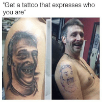 """Memes, Tattoos, and Express: """"Get a tattoo that expresses who  you are Looks like the hyena from lion king 😂🤤 germany yamgram neezduts takeyourshirtoff noharmdone"""