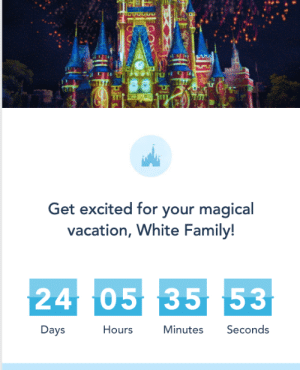 My friend's last name is White and they're going to Disney: Get excited for your magical  vacation, White Family!  2405 35 53  Days  Hours  Minutes Seconds My friend's last name is White and they're going to Disney