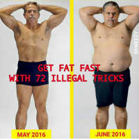 Illegal Memes: GET FAT FAS  WITH 72 ILLEGAL  TRICKS  JUNE 2016  MAY 2016