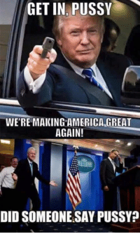 make america great again: GET IN PUSSY  WE'RE MAKING AMERICA GREAT  AGAIN!  DID SOMEONE SAY PUSSY?
