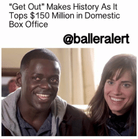 "Anaconda, Baller Alert, and Blockbuster: ""Get Out"" Makes History As lt  Tops $150 Million in Domestic  Box Office  @baller alert ""Get Out"" Makes History As It Tops $150 Million in Domestic Box Office – blogged by @MsJennyb ⠀⠀⠀⠀⠀⠀⠀⠀⠀ ⠀⠀⠀⠀⠀⠀⠀⠀⠀ JordanPeele's social thriller "" GetOut"" continues to break records and make history, with its exploration of social issues and race. After the film made Peele the first black director to break the $100 million threshold with a directorial debut in just the third week, the $5 million movie has gone on to become the biggest blockbuster, not only of the year, but of all time. ⠀⠀⠀⠀⠀⠀⠀⠀⠀ ⠀⠀⠀⠀⠀⠀⠀⠀⠀ According Forbes, the film has made $150 million in the UnitedStates, becoming the highest-grossing debut film ever, passing the 1999 film ""The Blair Witch Project, which made $140 million. ⠀⠀⠀⠀⠀⠀⠀⠀⠀ ⠀⠀⠀⠀⠀⠀⠀⠀⠀ The film is set to release on DVD and Blu-Ray next month with an alternate ending. How do you think it will end?"