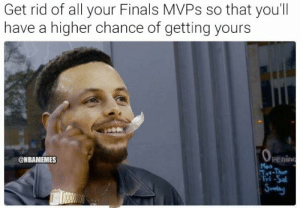 Finals, Kevin Durant, and Logic: Get rid of all your Finals MVPS so that you'll  have a higher chance of getting yours  Penin  Mon  Tut-Thue  Tri-Sal  Sunvdary  @NBAMEMES Steph Curry's logic after shipping out two Finals MVPs tonight in Andre Iguodala and Kevin Durant. 😂