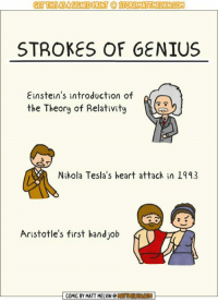 Crazy, Memes, and Twitch: GET THISASASIGNED PRINT OSTOREMATUMELVIN COM  STROKES OF GENIUS  Einstein's introduction of n  the Theory of Relativity  Nikola Tesla's heart attack in 1943  Aristotle's first hand job  COMIC BY MATT MELVIN C  MNCON I'm still kinda sick, but better enough for a short art stream. Let's make our crazy hobo character, Chad!  [🔵LIVE] 👉 http://www.twitch.tv/MattMelvin
