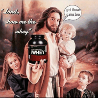 Old, Amen, and Whey: get those  gains bro  shom me the  whey  OLD STANDARD  WHEY Amen