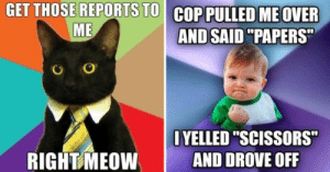 """This is the first pic that appears when you Google """"meme"""", so congrats to it.: GET THOSE REPORTS TO COP PULLED ME OVER  ME  AND SAID """"PAPERS  OYELLED """"SCISSORS  AND DROVE OFF  RIGHT MEOW This is the first pic that appears when you Google """"meme"""", so congrats to it."""