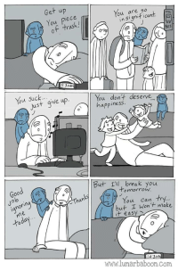 """<p>Weirdly adorable, and motivational to boot!</p>  Artist: <a href=""""http://www.lunarbaboon.com"""">www.lunarbaboon.com</a>: Get up  You piece  of trash.!  You are so  lo  in Significant  BuS  5:30AM  Just give up.  ou dont deserve  app inesS  Good  But 1ll, break you  Jo  lo  o mnorrow.  ianorin  Than  You can try.  but I Wont make  it easy  www.lunarbaboon.Com <p>Weirdly adorable, and motivational to boot!</p>  Artist: <a href=""""http://www.lunarbaboon.com"""">www.lunarbaboon.com</a>"""