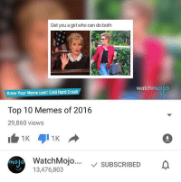 Memes, Who Can Do Both, and 🤖: Get you a girl who can do both  watch  Know Your Meme user: Cold Hard Crash  Top 10 Memes of 2016  29,860 views  WatchMojo  v SUBSCRIBED  13,476,803 Delete your channel