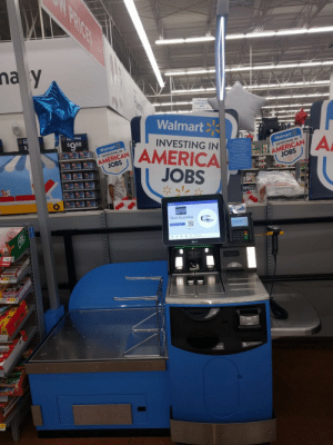 America, Walmart, and American: Get your  immunizatio  here  Awlable every day  Walmart  L. Price  $088  INVESTING IN  Walmart  i' AMERICA  JOBS  Walmart  INVESTING IN  AMERICAN  JOBS  INVESTING IN  Start Scanning  Walmart I dont think Walmart really gets it