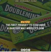 Memes, Wrigley, and 🤖: GET YOURSELF IFACTA  MINT LAV  DFACTSPERT  THE FIRST PRODUCT TO EVER HAVE  A BARCODE WAS WRIGLEYS GUM  FLAVOR T  TNT Koturally an Wrigley chewinggum