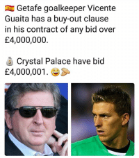 They won't overpay 😂💲💱: Getafe goalkeeper Vicente  Guaita has a buy-out clause  in his contract of any bid over  £4,000,000.  Crystal Palace have bid  £4,000,001. They won't overpay 😂💲💱