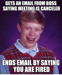 That went well: GETS AN EMAIL FROM BOSS  SAYING MEETING IS CANCELED  ENDSEMAIL BY SAYING  YOU ARE FIRED  mg flip com That went well