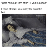 Home, Vodka, and Girl Memes: gets home at 4am after 17 vodka sodas*  Friend at 9am: You ready for brunch?  Me:  @drinksforgayz Ummmm are you trying to kill me @drinksforgayz